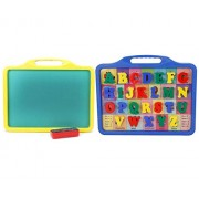 ivee international Kid's 2-in-1 Educational Alphabet Slate and Green Chalk Writing Board to Learn Pictures, Spellings and Alphabets (Multicolour)