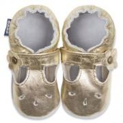 Sapatilha Boneca para bebe em couro Eco Dourada - Babo Uabu BABO36 Sandalia Boneca Ouro-0-6 meses