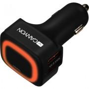 CANYON Universal 4xUSB car adapter, Input 12V-24V, Output 5V-4.8A, with Smart IC, black rubber coating + orange LED