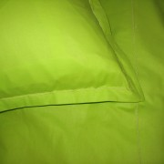 Lenjerie de pat din bumbac satinat verde, cu broderie decorativa