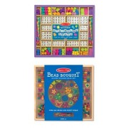 3 Item Bundle: Melissa & Doug 3774 Wooden Stringing Beads And 4169 Bead Bouquet Deluxe Wooden Bead Set + Free Activity Book