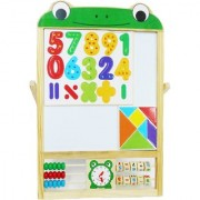Emob Childrens Learning 2 in 1 Sketchpad writing Board White Black Board with Wooden Frame and Abacus (Multicolor)