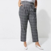 River Island Womens Plus Grey check tapered leg trousers