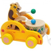 Emob Wooden Bear Knock the Drum Walk-A-Long Push and Pull Toy for Toddlers (Multicolor)