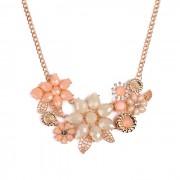 Colier vesel, auriu, cu flori albe si roz pal
