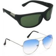Averhub Wrap-around, Aviator Sunglasses(Blue, Grey)