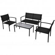 vidaXL Set mobilier de exterior, 4 piese, negru, textilenă