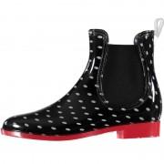 Apollo Zwarte korte regenlaarzen met grijze stippen en elastiek voor dames 41 - Regenlaarzen