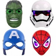 Hulk Spiderman Capt.America and Stormtrooper Combo of Superhero LED+ Sound Mask