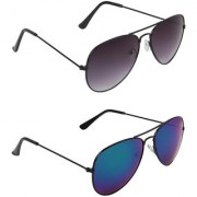 Zyaden Black UV Protection Aviator Unisex Sunglasses (Pack of 2)
