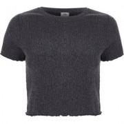 River Island Womens Grey shirred frill edge cropped T-shirt