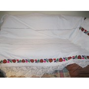 Antique hand woven and hand embroidered bed sheet with lace 7