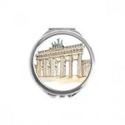 DIYthinker Brandenburg Door in Eastern Germany Espejo redondo portátil maquillaje de bolsillo de mano
