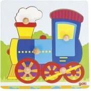 Puzzle - Locomotiva cu butoane ,Goki din lemn,5 piese, 20.6 x 20.6 x 2.4 cm.
