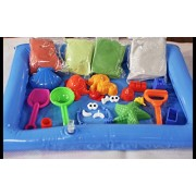Smart Sand Bucket 1100 Grams of Sand in White, Blue, Green, Yellow + 5 Castle Moulds 4 sea Animal Moulds 2 Hands, Eyes, Cap Plastic Pieces Spade, Shovel Tools PVC Tray 16 x 16cm