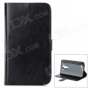 Protective Flip Open PU caso w / Stand / ranuras de tarjeta para LG G3 / D855 - Negro
