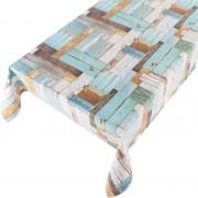 Merkloos Tafelkleed PVC kleuren houten planken motief x 170 cm