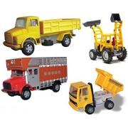 Centy Toys Plastic Construction Combo Set of Telco Truck, Jcb, Public Truck and Dumper (Multicolour)