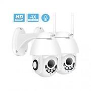 MOVE CC-webcam Cámara IP WiFi 1080P para Exteriores, Dos vías de Audio, Ptz 5X, Zoom óptico, visión Nocturna, IR 60 m, cámara Domo de Seguridad inalámbrica P2P, 2 X 1080P Add 32G SD, 2.8-12mm Zoom