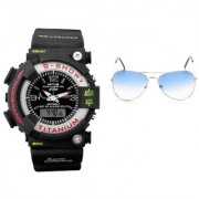 CALIBRO Black mtg Round dial men's watch Skyblue Aviator Sunglass