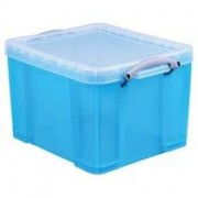 Really Useful Box 35 liter, transparant helblauw