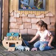 Set jucarii din lemn Arca lui Noe, Joc de sortare, 25 piese