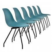 [en.casa]® Étkezőszék Budapest design szék 6 darabos szett 83 x 46 cm acél lábak türkiz
