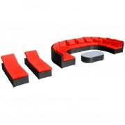 Set mobilier de grădină cu șezlonguri, poliratan, roșu