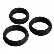 3 Piece Silicone Cock Ring Set - Black