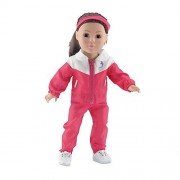 18 Inch Doll Clothes | 5-piece Running/ Sports/ Warmup Outfit, Including Pink Jacket and Matching Pants, T-Shirt, Stretch Headband and Running Shoes | Fits American Girl Dolls by Emily Rose Doll Clothes