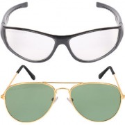 Aligatorr Combo Of 2 Aviator Unisex Sunglasses gold gn nd wtCRLK