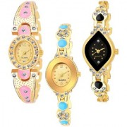 Varni Retail GoldPink Oval Diamond Gold Dial Cross Rectangle Black Dial up Dmd 3 Combo Watch For Girls