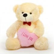 2 feet big peach teddy bear with pink I Love You Heart