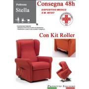 Il Benessere Poltrona Relax Stella completa di Alzapersona e Kit Roller 2 Motori Tessuto Lavabile Colore Bordeaux Sfoderabile Consegna 48 Ore