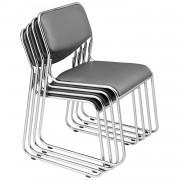 [pro.tec]® Комплект от 4 стола за офис / конференции 77 x 55 см - Еко кожа - Сиви
