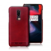 PIERRE CARDIN for OnePlus 6 Horizontal Stitched Genuine Leather Coated PC Phone Case - Red
