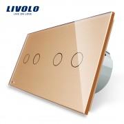Intrerupator dublu + dublu cu touch Livolo din sticla, auriu