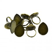 MagiDeal 10pcs Adjustable Ring Blanks 25x18mm Waterdrop Shape Cabochon Rings Settings - bronze, as described
