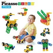PicassoTiles PTN100 100pc Nuts and Bolts Building Block Engineering STEM Set 3D Construction Learning Toy Stacking Educational Blocks w/ Anchors, Motor Wheel Kit, Storage Box Container Free Idea Book