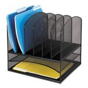 Mesh Desk Organizer, Eight Sections, Steel, 13 1/2 X 11 3/8 X 13, Black