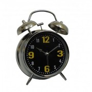 6th Dimensions Vintage Silver 4.5 INCH Display Metal Twin Bell Alarm Table Clock With Light (Black)