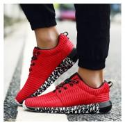 Respirable Superficie Neta Zapatos Deportivos Ocio Para Correr Ligero Amortiguamiento -ROJO