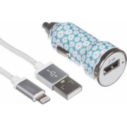 Incarcator auto Trendz Bullet 2.1A Ditsy Floral + cablu USB - Lightning MFI