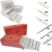 MUMBAI TATTOO NEEDLES 7RL 9RS 11M1 ROUND MAGNUM LINER SHADER WITH TIPS 7RT 9RT 11MFT (PACK OF 3 RED BOX 3 BOX TIPS)
