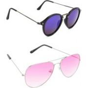 Hrinkar Round Sunglasses(Violet, Pink)