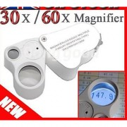 30x22mm 60x12mm Magnifying Glass Magnifier Loupe Jeweler LED Loupe Lens