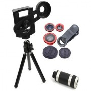 Universal 8X Zoom Telescope Lens with Tripod Adjustable Mobile Holder + 3in1 Universal Mobile Lens Kit with Clip