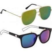 NuVew Retro Square, Wayfarer Sunglasses(Blue, Golden, Green)