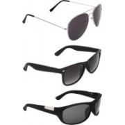 Zyaden Aviator, Wayfarer, Wrap-around Sunglasses(Black, Black, Black)