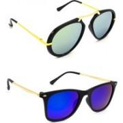Hrinkar Wrap-around Sunglasses(Silver, Pink)